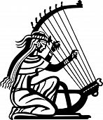 Ancient woman playing the harp