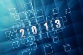 Year 2013 In Blue Glass Blocks