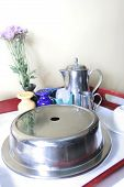 picture of table manners  - Photograph of room service table set up - JPG