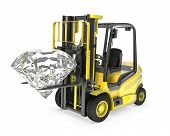 Fork Lift Truck Lifts Round Cut Diamond