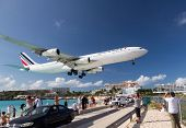 Airplane Lands At Princess Juliana Airport