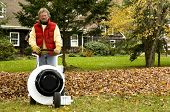 stock photo of leaf-blower  - homeowner using leaf blower professional push style with pile of leaves suburban home in the autumn