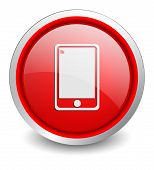 mobile phone red button - design web icon