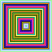Decreasing size colorful square frames abstract seamless background.