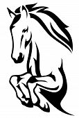 stock photo of mustang  - jumping horse black and white vector outline - JPG