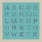 Grunge alphabet. Retro background. Vector eps8.