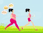 Young Woman Jogging,fat Girl Dreams Of Unhealthy Eating, Skinny Girl Drinks Mineral Water