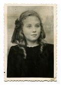 BELGOROD, USSR, CIRCA 1944 : Antique photo, portrait of a young beautiful girl, circa 1944