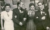 RYCHTAL, POLAND, CIRCA 1946 - Vintage photo of guests during the wedding ceremony, Rychtal, Poland, 1946