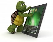 stock photo of carapace  - 3D render of a tortoise with Tablet PC - JPG