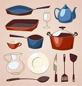 Tableware set. Household series vector illustration.
