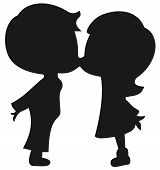 kissing kids silhouette