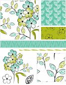 Modern Floral Seamless Vector Patterns and Icons. Perfect for scrap-booking, greeting cards, wallpaper, textiles, stencils and more.