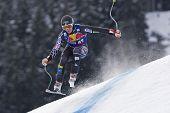KITZBUHEL TIROL, AUSTRIA - JAN 24 2009; Kitzbuhel Tirol Austria, Kevin Francis (USA) competing in th