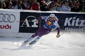 KITZBUHEL TIROL, AUSTRIA - JAN 24 2009; Kitzbuhel Tirol Austria, Marco Buechel (LIE)  competing in t