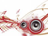 picture of lien  - Music notes with halftone wave lien background vector background - JPG