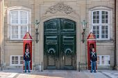 Palace Guard At Amalienborg Palace In Copenhagen