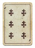 Old Grunge Playing Card With Six Number Isolated