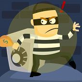 stock photo of sneak  - a burglar sneaking out after stealing money - JPG