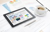 Business-News-Website auf digitale Tafel