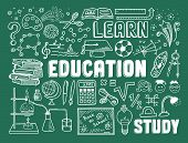 foto of education  - Hand drawn vector illustration set of education and learning doodles with school objects and items - JPG