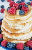 Stack Of Pancakes With Berries Breakfast