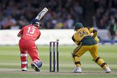 LONDON - 12 SEPT 2009; London England: England's Matt Prior watches the ball just miss his stumps as