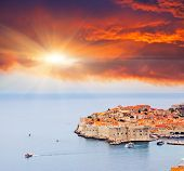 Majestic colorful sunset on old town of Dubrovnik, Croatia. Balkans, Adriatic sea, Europe. Beauty world.
