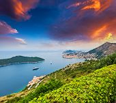 Majestic colorful sunset on old town of Dubrovnik, Croatia. Balkans, Adriatic sea, Europe. Beauty wo