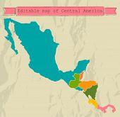 Mapa de América Central editable con todos los países.