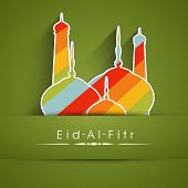 Muslim community festival Eid Al Fitr (Eid Mubarak) concept with colorful mosque on abstract green b