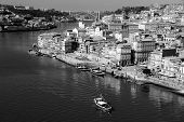 Portugal. Porto City. View Of Douro River Embankment  In Black And White