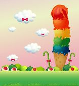 Illustration of a giant ice cream at the hilltop