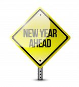 New Year Ahead Road Sign Illustration Design