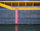 stock photo of water shortage  - Water level meter on large freight ship - JPG