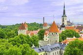 picture of olaf  - Aerial view of the old medieval city of Tallinn Estonia - JPG
