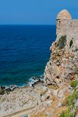 Mediterranean Sea And Fort Of Rethymno At Crete