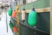 Colorful Buoys on Boat in Alaska Harbor