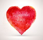 Watercolor vector heart for vintage design. Paper texture element