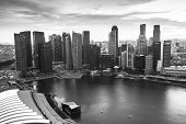 SINGAPORE - APRIL 15: A view of city from roof Marina Bay Hotel (b/w photo) on April 15, 2012 on Sin