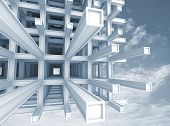 pic of structural engineering  - Architecture blue monochrome background - JPG