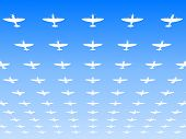 stock photo of spitfire  - A massed formation of Spitfire Supermarine WWII fighters flying overhead - JPG