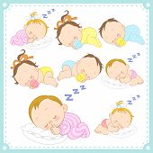 pic of twin baby  - vector illustration of baby boys and baby girls with white background - JPG