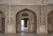 Marble Hall Of The Palace, Decorated With Richly Carved And Inlaid At The Red Fort. Delhi, India