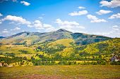 stock photo of hayfield  - Idyllic landscape of the slopes of  Zlatibor mountain  - JPG