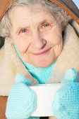 Elderly Woman With Mug