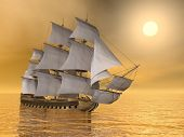 stock photo of galleon  - Beautiful old merchant ship floating on quiet water sunset - JPG