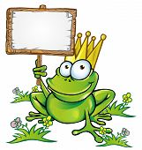 image of amphibious  - happy frog prince  with signboard vector project - JPG