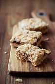 Homemade flapjack with almonds