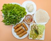 Vietnamese Food Pork Sausage With Vegetable (nam Nuang)